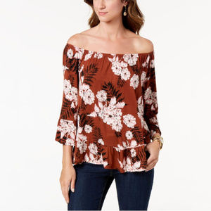 Style & Co Floral Printed Off-The-Shoulder Top